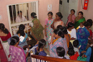 Women waiting at the S. B. Devi Outpatient Clinic
